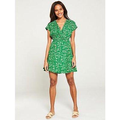 V By Very Wrap Button Skirt Tea Dress - Print