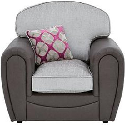 Moreno Faux Snakeskin And Fabric Armchair