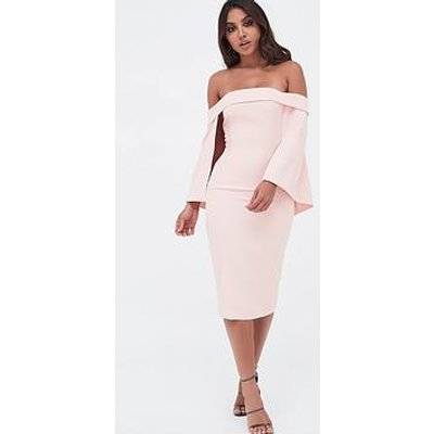 Lavish Alice Bardot Cape Midi Dress - Nude