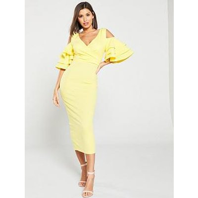 Forever Unique Cold Shoulder Ruffled Bodycon Dress - Lemon