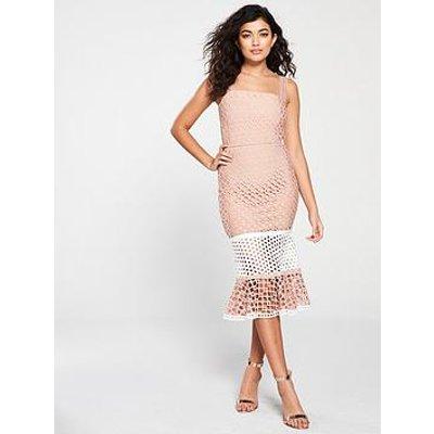 Forever Unique Fluted Hem Strappy Bandage Dress - Nude/Ivory