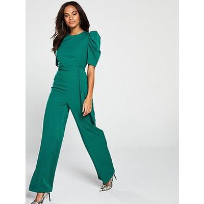 V By Very Ruched Sleeve Jumpsuit - Green