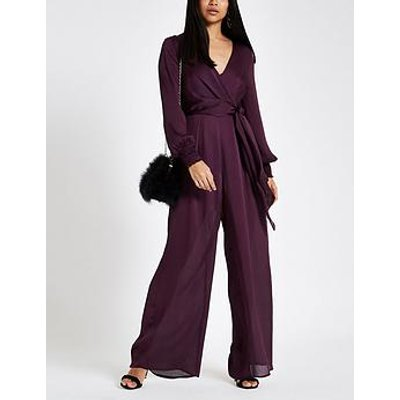 Ri Petite Long Sleeve Jumpsuit - Berry