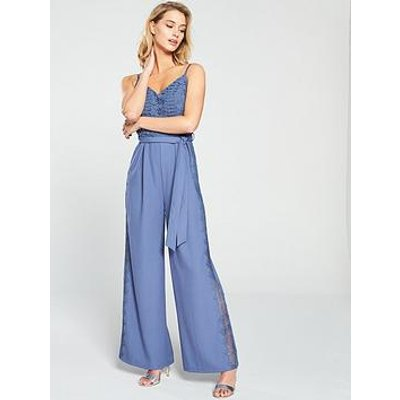 Little Mistress Crochet Top Strappy Jumpsuit - Blue
