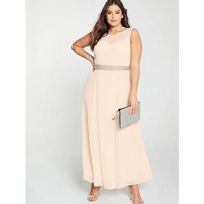 Little Mistress Curve Beaded Waist Bridesmaid Maxi Dress - Blush