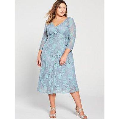 Little Mistress Curve Two Tone Lace Midi Wrap Dress - Blue