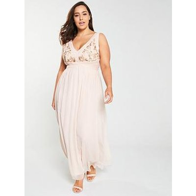 Little Mistress Curve Embroidered V-Neck Maxi Dress - Nude