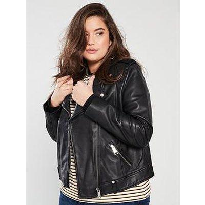 V By Very Curve Ultimate Leather Biker Jacket - Black