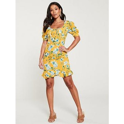 V By Very Lace Up Front Crepe Tea Dress - Yellow/Print