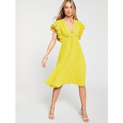 V By Very Ruffle Sleeve Pleated Skirt Dress - Yellow