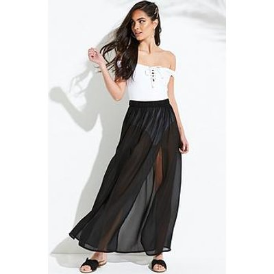 South Beach Double Split Front Beach Maxi Skirt - Black