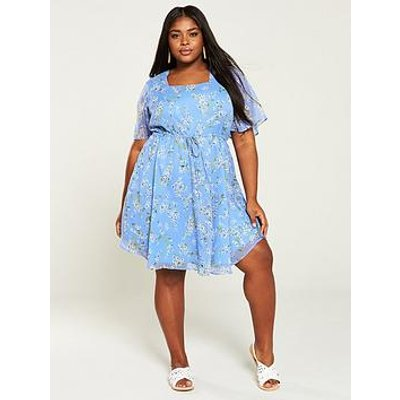 V By Very Curve Square Neck Tea Dress - Ditsy Print