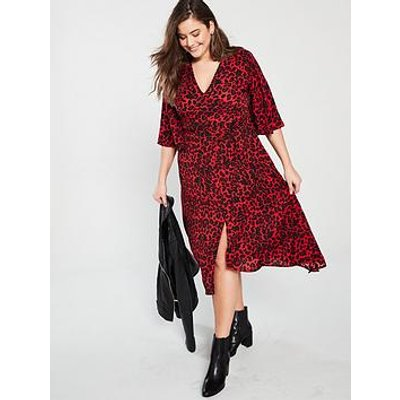 Ax Paris Curve Frill Sleeve Animal Print Midi Dress - Red