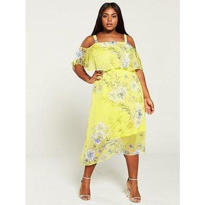 V By Very Curve Cold Shoulder Asymmetric Floral Dress - Print