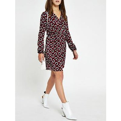 Ri Petite Ri Petite Printed Plisse Tea Dress - Navy