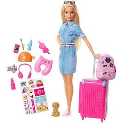 Barbie Barbie Doll Travel Set With Puppy And Accessories