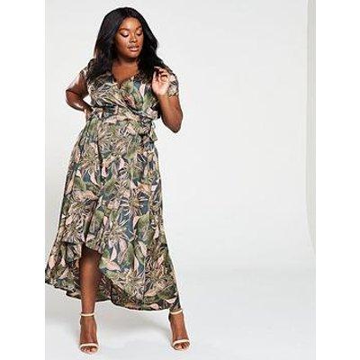 Ax Paris Curve Ax Paris Curve High Low Hem Tropical Print Wrap Dress
