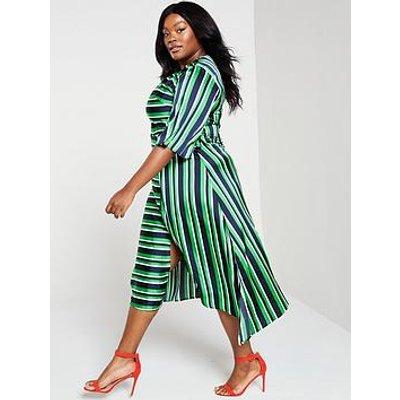 Ax Paris Curve Ax Paris Curve Green Striped Tie Midi Dress