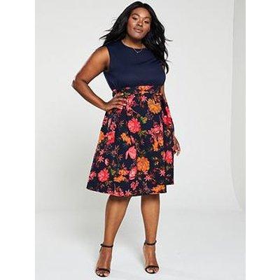 Ax Paris Curve 2-In-1 Floral Print Skirt Dress - Navy