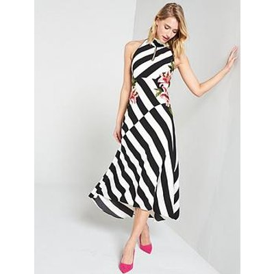 Karen Millen Stripe Embroidered Dress - Black/White
