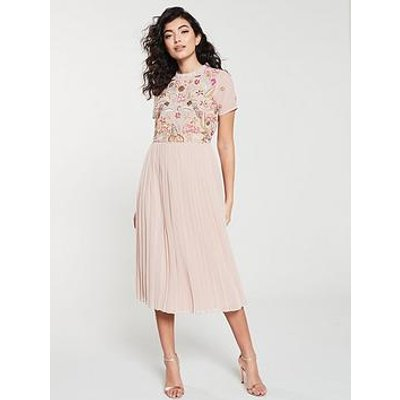 Frock And Frill Frock And Frill Embellished Bodice Midi Dress With Pleat Skirt