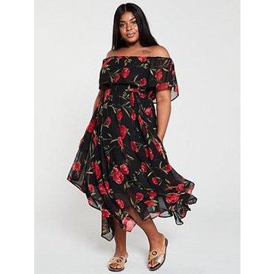 V By Very Curve Bardot Choppy Midi Dress - Floral/Print