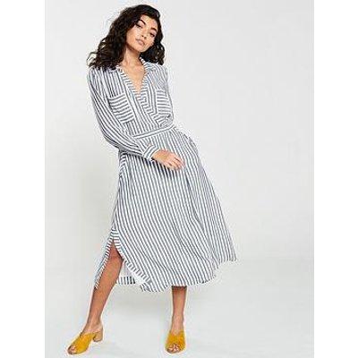 Whistles Mix &Amp; Match Wrap Shirt Dress - Grey