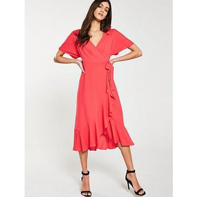 Whistles Abrigail Frill Wrap Dress - Flamingo