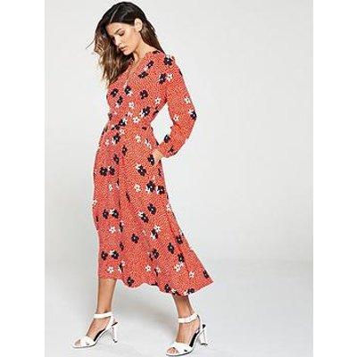 Whistles Confetti Floral Print Midi Dress - Red Multi