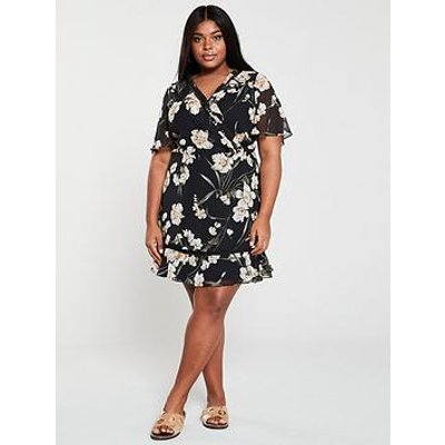 V By Very Curve Lace Trim Floral Tea Dress - Print