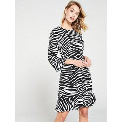 Whistles Zebra Print Flippy Dress - Black/White