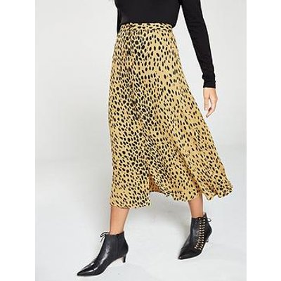 Whistles Animal Print Midi Skirt - Cream