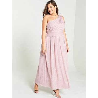 Little Mistress Curve One Shoulder Corsage Maxi Dress - Rose