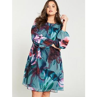 Little Mistress Curve Printed Shift Dress - Multi