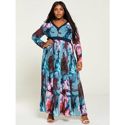 Little Mistress Curve Printed Chiffon Maxi Dress - Multi