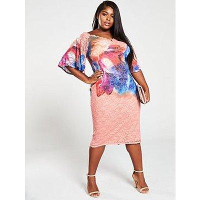 Little Mistress Curve Off The Shoulder Lace Bodycon Dress - Print