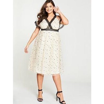 Little Mistress Curve Spot Mesh Wrap Dress - Cream Black