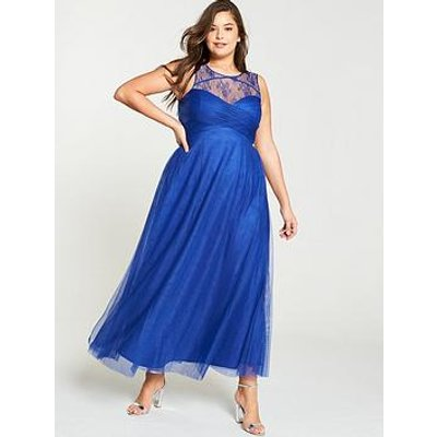 Little Mistress Curve Mesh Insert Embellished Maxi Dress - Blue