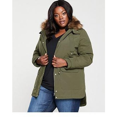 V By Very Curve Faux Fur Parka Coat - Khaki