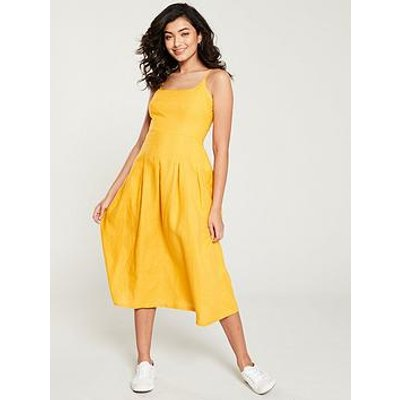 Whistles Duffy Linen Strappy Dress - Yellow