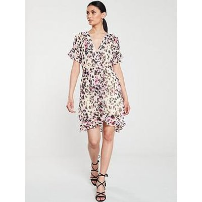 V By Very Frilled Sleeve Tea Dress - Leopard Print