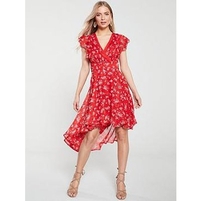 V By Very Wrap Dip Back Woven Tea Dress - Red Print