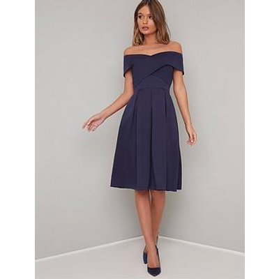 Chi Chi London Bay Bardot Full Skirt Dress - Navy