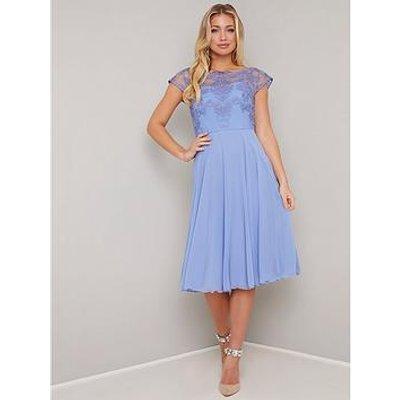 Chi Chi London Simoni Lace Top Dress - Blue
