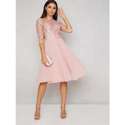 Chi Chi London Genesis Lace Top Dress - Rose Gold