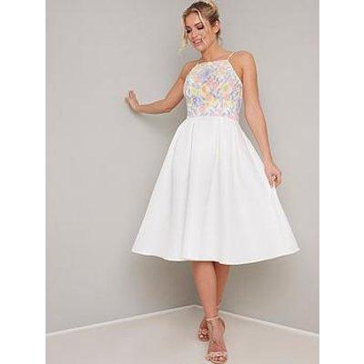 Chi Chi London Memi Embroidered Top Midi Dress - White