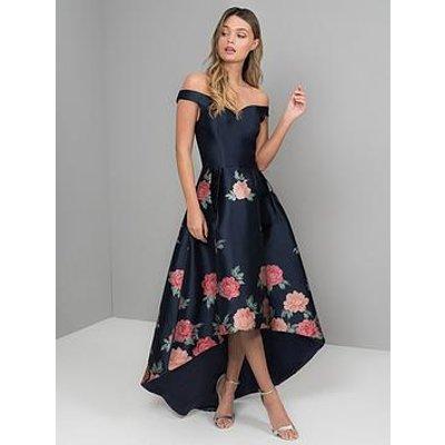 Chi Chi London Hazel Bardot High Low Dipped Hem Dress - Navy