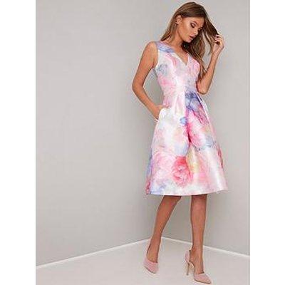 Chi Chi London Ohanna V-Neck 2-In-1 Dress - Pink