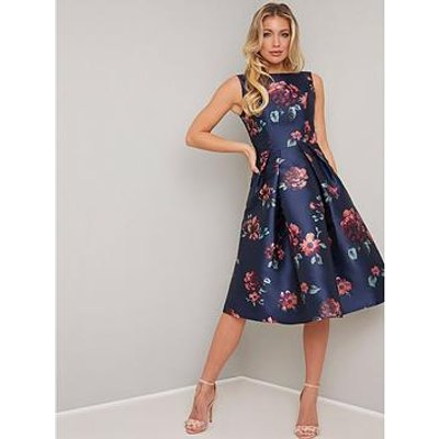Chi Chi London Mindy Floral Print Midi Dress - Navy