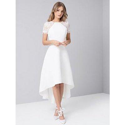 Chi Chi London Meara Lace Sleeve High Low Hem Dress - White